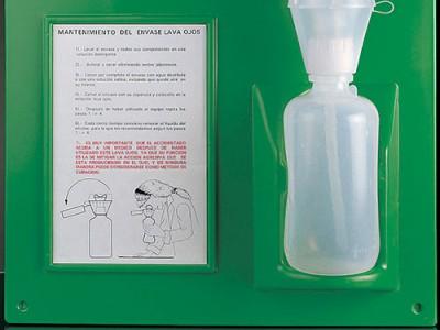 Бутель для промивання очей з інструкцією та стендом